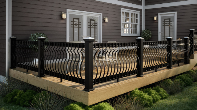 Vista Sandalwood Decking With Black CXT Architectural Railing And Black  Baroque Balusters